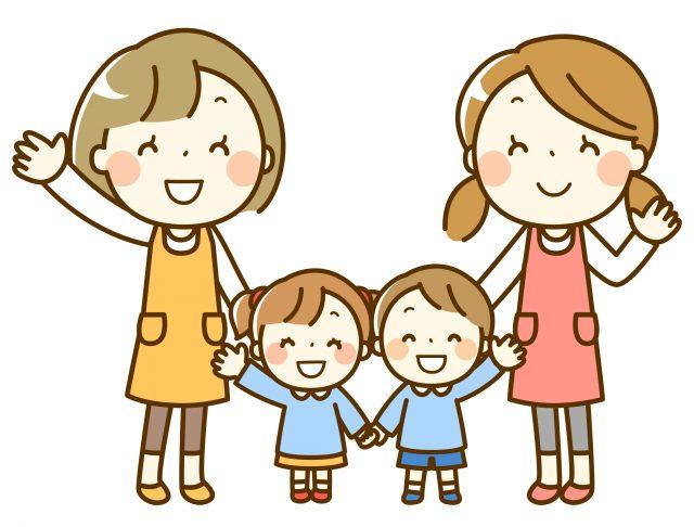 幼稚園保育園の先生と園児